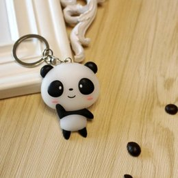 Wholesale Panda Ornament - NEW Fashion Panda Handbag Keychain ornament key chain car motorcycle key ring holder keyring Pendant chaveiros llaveros
