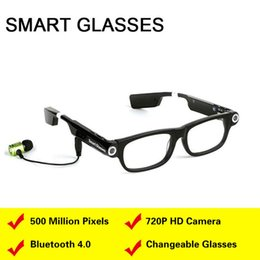 Wholesale Video Camera Headset - Smart Glasses Video Camera Bluetooth Headset 4.0 Handsfree Phone Call Sync GPS Prompt Music Sleep Alarm For IOS Android phones