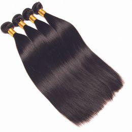 Дешевые девственные бразильские пучки волос онлайн-Бразильские прямые волосы девственницы 4 пачки 5 пучков натуральный черный необработанные бразильские прямые человеческие волосы расширения дешевые бразильские волосы