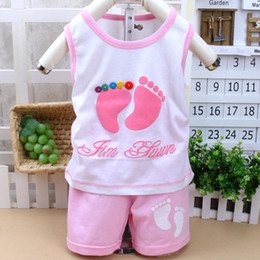 Wholesale Clothing For Little Girls - Kids cotton vest suit children's little feet pattern clothing set for baby boy girls