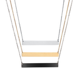 Wholesale custom engraving necklace - Bar Pendant Necklace 3 Colors Personalized Blank Stainless Steel Custom Name Plate Necklace Can Engrave Word Letters Jewelry Wholesale