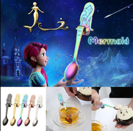 Wholesale Long Spoons Ice Tea - stainless steel Cute Mermaid Spoon Handle Spoons Flatware Coffee Drinking Tools Ice Cream Dessert Long Handle Coffee Tea Spoon LJJK870