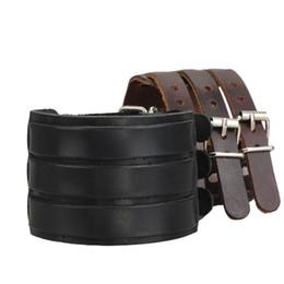 Wholesale Man Cow Leather Belt - Bluelans Punk Rock New 2 Layer Belt Men Genuine Cow Leather Bracelet 3 Buckle Wristband Cuff Bangle Hot Sale 00JK