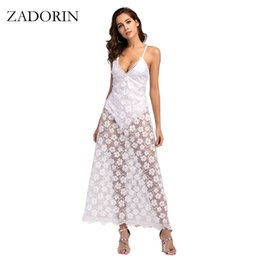 c5968c1588dd96 ZADORIN Strand Jurkjes 2018 Donne Luxury Spaghetti Strap Crochet Lace Maxi Dress  Bohemian Summer Beach Party Dress Robe longue