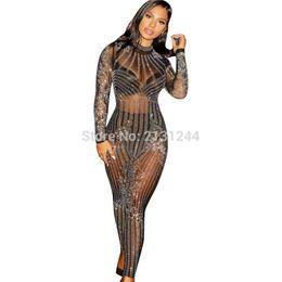 Traje de malla de longitud completa online-Mamelucos de las mujeres del mono de malla Rhinestone Body de cuerpo entero fiesta elegante mono Playsuit Q034