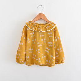 Wholesale Cherry T Shirt - Children Spring T-shirts Girls cherry printed tees 2018 new Kids long sleeve lace falbala collar tops Leisure Girls T-shirts C2763