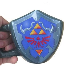 Wholesale Wholesale Drinking Games - Zelda Legend Shield Porcelain Mug Anime Game Ceramic Water Coffee Mug Cool Drinkware With Handle OOA4725