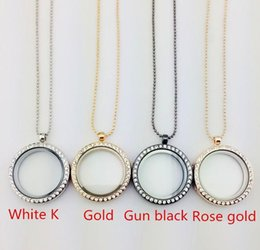 Wholesale charmed memories beads - Beautiful 4 Colors Floating Locket Pendant Necklace women Magnetic Living Memory Glass Floating Charm Locket With bead Chains DIY necklaces.