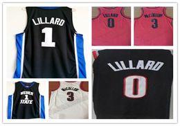 Wholesale Cj Free - NCAA Best Quality American basketball jerseys damian lillard 2018 New mens shirts cj mcCollum college white blue cheap suits Free Shipping