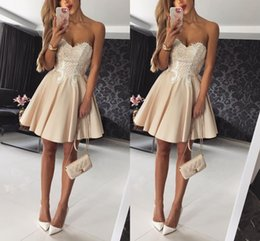Wholesale Apple Cocktails - 2018 Sexy Short Homecoming Dresses Sweetheart Satin Pleats A Line Cocktail Graduation Party Dresses Gowns Special Occasion Dresses
