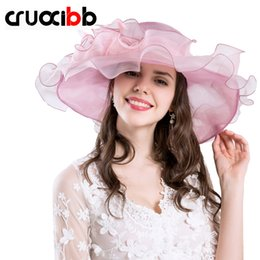 Wholesale Chapeau Femme - CRUOXIBB 2017 Summer Elegant Women's Sun Hat UV Protection Women Cap Design Big Flower Fashion Style Chapeau Femme Sea Beach Hat