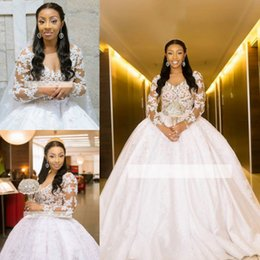 african white lace styles Promo Codes - South African Dubai Style Ball Gown Wedding Dresses 2019 Vintage Long Sleeves Sheer Lace Appliques V Neck Long Bridal Gowns Plus Size