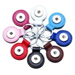 Llavero de botón a presión Llavero de cuero de la PU Bolsa de accesorios Diy accesorio colgante Ajuste 18 / 20mm Llavero de botón a presión # S desde fabricantes