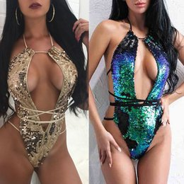 Wholesale Sexy Sequin Bathing Suits - sexy girl Sequins backless lacing bikini jumpsuits one-pieces Swimsuit plus size women new Europe halter Swimwear Biquini Bathing suit