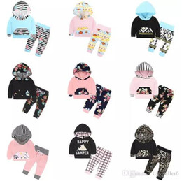 Wholesale infant boy christmas - INS Christmas Baby Clothes Sets Boys Girls Fashion Floral Flower Printed Hooded Long Sleeve T-Shirt Pants Infant 2PCS Kids Clothing Sets B11
