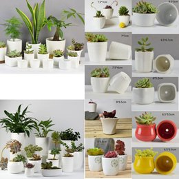 Wholesale flower pot gardens - 10 styles Ceramic Succulent Plant Pots Hexagon Decorative Flowerpot Desktop Flower Pot Bonsai Planter Garden decoration GGA463 150PCS