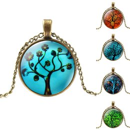 Wholesale Bronze Red Heart Necklace - Massive fashion vintage necklace, collar with bronze chains and pendants of glass cabochon with the image of the tree of life,