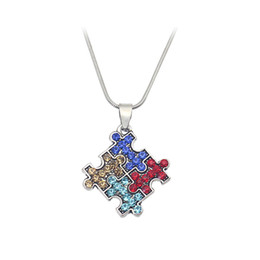 Wholesale Jigsaw Puzzle Wholesalers - Autism Awareness Jigsaw Necklace Multicolor Crystal Puzzle Piece Pendant Necklace Jewelry for kids Men Women YYA1212