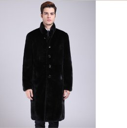 7679b8ce23f Clobee 2017 Winter Mens Long Leather Coat Slimming Warm Thicken Fur  Outerwear Stand Collar Business Formal Faux Fur Coat XL701