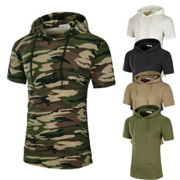 Wholesale hooded long sleeve tees men - Men Longlines T Shirt Solid Camouflage Printed Mens Cotton T Shirts Short Sleeve Hooded Tee Homme High Street Wear