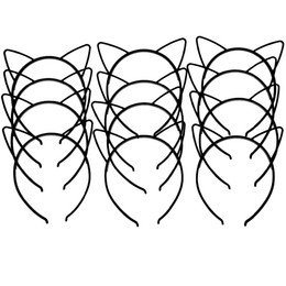 Linda diadema negra online-XIMA 12 unids / lote 2017 Nuevo Estilo Negro Cat Ears Headband ABS Lindo Plástico Niñas Cat Ears Hairband Niños Accesorios Para el Cabello GHB026