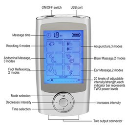 Argentina Digital 16 modos de pulso eléctrico portátil TENS EMS máquina de masajeador pantalla LCD +16 modos de terapia + herramienta de masaje de doble salida cheap electric pulse therapy machine Suministro