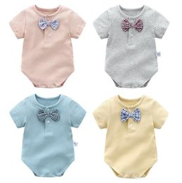 Wholesale Tie Outfits - Ins Baby kids summer boy romper stripped round collar little bow tie romper boutique outfits elegant romper 4 color