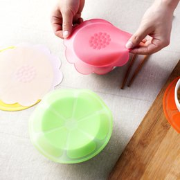 Wholesale refrigerator covers - Silicone Food Wrap Fruit Flower Shape Sealing Bowl Cover Refrigerator Food Storage Fresh Keeping Cling Film Cover Lid