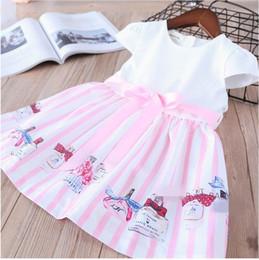 Wholesale Children Perfume Wholesale - 2018 Summer New Girl Dress fashion Perfume bottle stripe Short Sleeve dress Children Clothes 20758