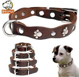 Véritable collier de chien en cuir souple réglable cols cloutés pour animaux de compagnie de petits chiens moyens Pitbull brun couleur XXS XS S M ? partir de fabricateur