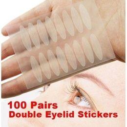 2019 наклейка глаз косметическая Wholesale Make Up 100 Pairs Wide Double Eyelid Sticker Tape Technical Eye Tapes Beauty  Cosmetic Accessories скидка наклейка глаз косметическая