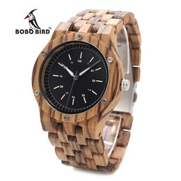 Наручные часы магазин онлайн-BOBO BIRD WN12 Wooden Watches Mens  Zebra Wood Band Quartz Watch Accept Logo Laser Customized Dropshipping