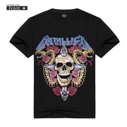 Wholesale t shirts skull men wholesale - Summer men's street head wind rock metal band skull short sleeve T-shirt.