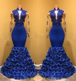 Wholesale Long Dresses One Hand - Sexy Royal Blue Mermaid 2K18 Prom Dresses Hand Made Flowers 2018 High Neck Long Sleeves Lace Plus Size Black Girls African Evening Gowns