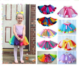 Wholesale dance performance clothes kids - Kids Rainbow Color TUTU Skirt Dress Children Girls Ball Gown Colorful Dance Wear Dress Ballet Pettiskirt Summer performance Party Clothes