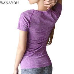 Wholesale Fitness Professional Shirts - WANAYOU Women Professional T-shirt Sports Suit Sweatshirt Quick Dry Running Yoga Fitness Exercise Short Sleeves T-shirt