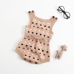 polka dot baby bodysuit Coupons - Retail Autumn New Baby Girl Boy Bodysuit Polka Dot Sweater Knitted Cotton Clothes Sleeveless Baby Jumpsuit Navy Brown E8313