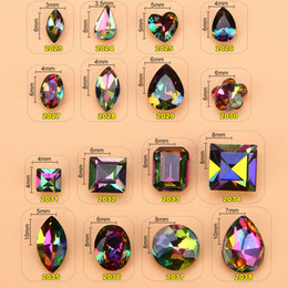 Diamantes de imitación de lujo online-100 pc / lot 6 * 3-10 * 7 mm 3D Nail Art Decoraciones Fancy AB Rhinestones cristales Sharp Bottom Iridescence Fuego diamante Nail joyería