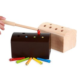 Wholesale Hand Props - Wooden Catching Worms Games Toy Magnetic Intelligence Puzzle Toys For Baby Hand Eye Coordination Early Education Desktop Props 17oy Z