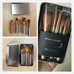 Wholesale makeup blusher brush - New Hot makeup 12 Pcs set brush NUDE 3 Makeup Brush kit Sets in metal box for eye shadow blusher Cosmetic Brushes TooL fast Shipping