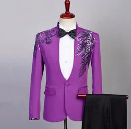 af33a8f606a0 lila hosenanzug Rabatt Purple Blazer Männer formelle Kleidung neuesten  Mantel Hose entwirft Sänger Pailletten Anzug Männer