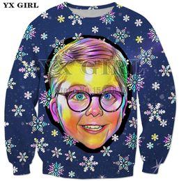 sudaderas unisex de navidad Rebajas YX Girl Brand Unisex Regalo de Navidad sudadera con cuello redondo para Mujeres Hombres Navidad Ralphie Boy Sudaderas con Estampado 3d Tops Streetwear