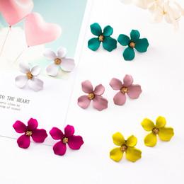 diamante opale nero Sconti Orecchini a forma di fiore in lega di stile carino per le ragazze - Orecchini a bottone in metallo con orecchini di stamen per gioielli