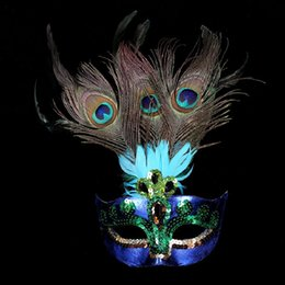 Wholesale Peacock Feather Masquerade Masks - Party Mask Woman Female Masquerade Masks Sexy Peacock Feathers Half Face Mask Party Cosplay Costume Halloween Venetian Ball