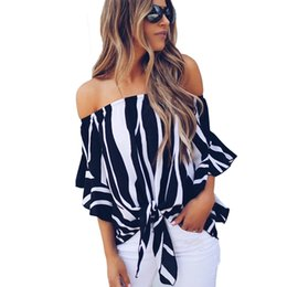 4df22cb82 Off Shoulder Chiffon Blouse Casual Flare Sleeve Striped Office Shirt Sexy  Slash Neck Bow Tie Bandage Summer Tops Women Blouses