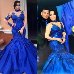 Wholesale Evening Gowns Mesh - 2018 Saudi Arabia Royal Blue Prom Dresses High Neck Nude Mesh Mermaid Long Sleeves Lace Appliques Evening Gowns Plus Size Satin BA8186