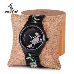 Wholesale Bamboo Bird - BOBO BIRD Men wooden bamboo Women Watches embroidery style Wood ladies Quartz watch Gift for Girl saat erkek relojes clock