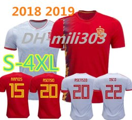 Wholesale national hot - Hot 2018 world cup Spain home away soccer jersey18 19 ASENSIO Spain national MORATA RAMOS ISCO INIESTA Camiseta maillot football shirt S-4XL