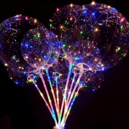 Wholesale transparent latex balloon - Luminous LED Balloon Transparent Colored Flashing Lighting Balloons With 70cm Pole Wedding Party Decorations Holiday Supply CCA8166