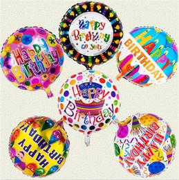 Mezcla de globos de aluminio online-6 Diseños de mezcla orden feliz cumpleaños globos 18 pulgadas inflable de aire globo globos globos de helio burbuja al por mayor para los niños